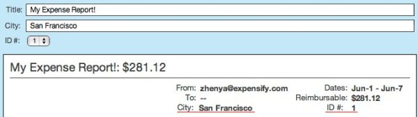 Customer ID# custom field in an expense report