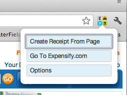 Expensify Chrome Extension menu